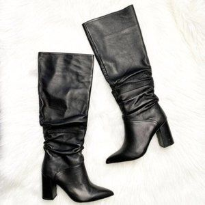 Steve Madden Norie Black Leather Boots Size 8